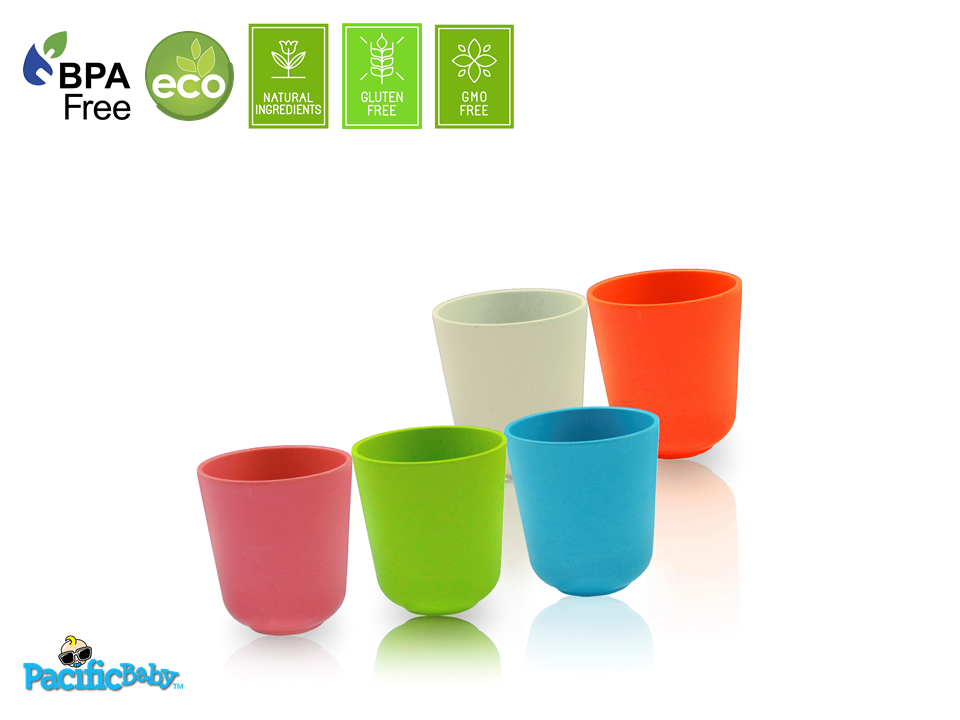 Bamboo Cup Set (Multi-Color) - 5 pieces