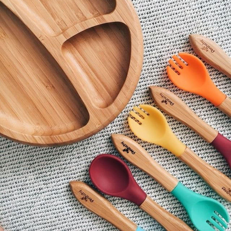 Bamboo & Silicone Toddler Training Forks