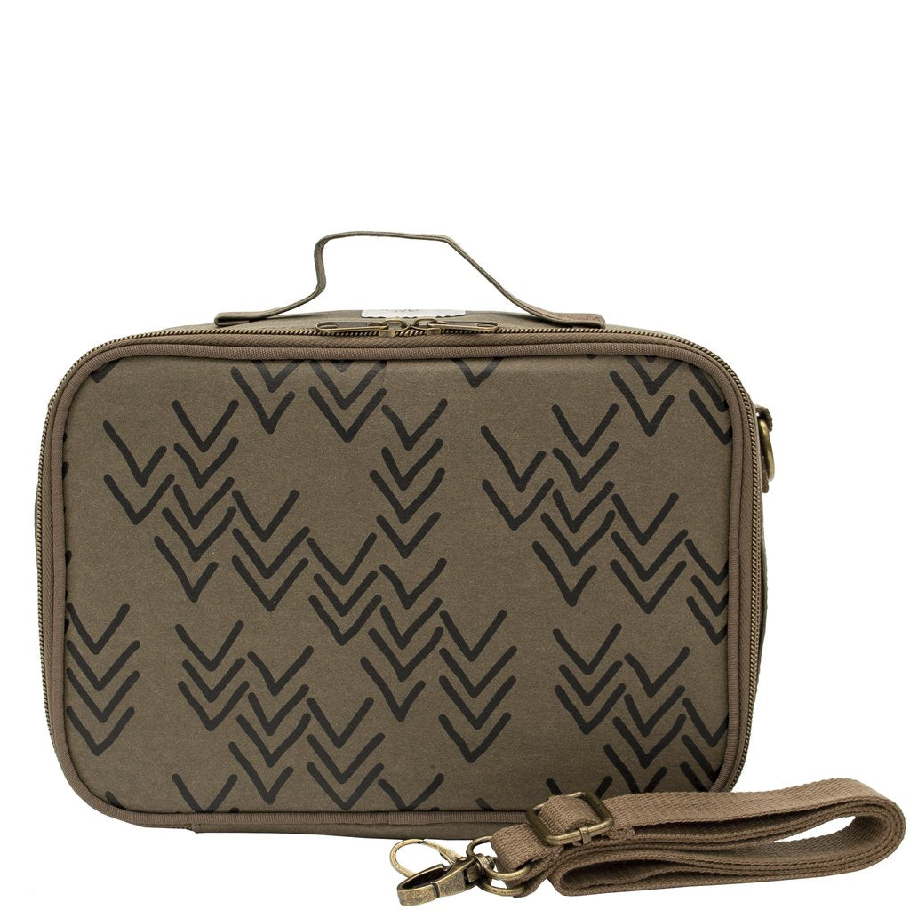 Bento Lunch Box Olive Paper Chevron