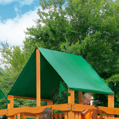 Frontier w/ Amber Posts and Sunbrella® Canvas Forest Green Canopy
