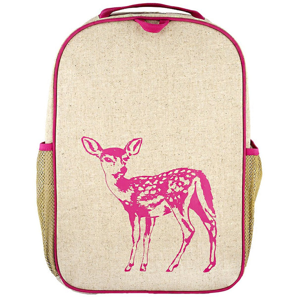 Pink Fawn Grade School Backpack - Raw Linen