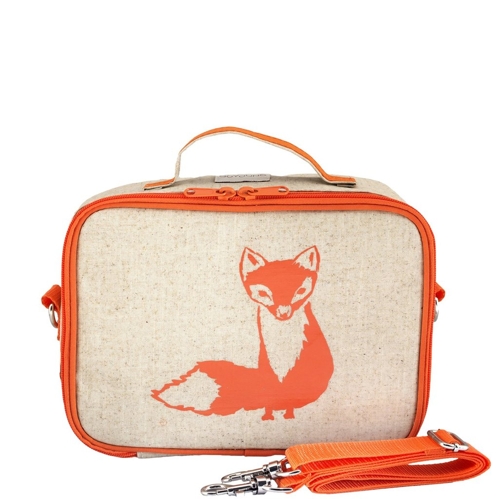 Orange Fox Lunch Box - Raw Linen