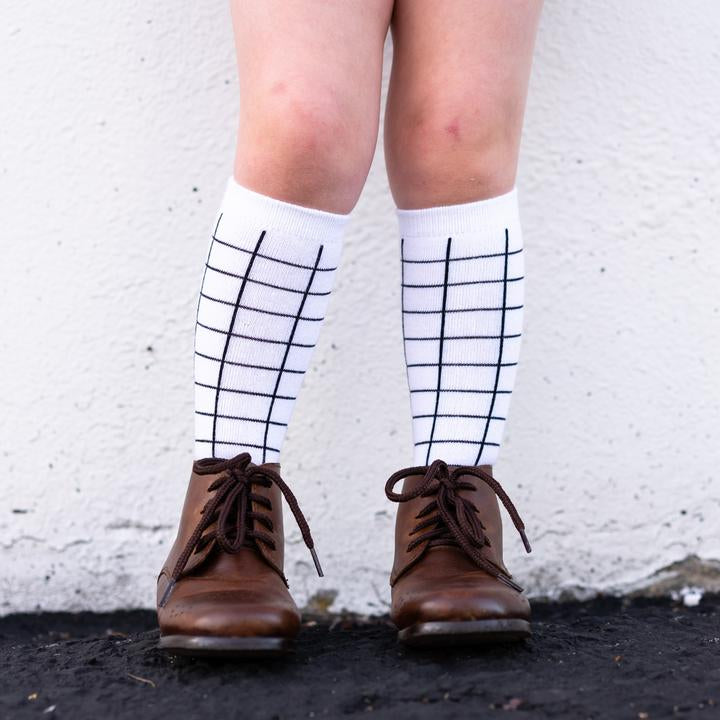 White +Black Grid Knee Highs