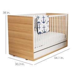 Luce Convertible Crib - Natural & White