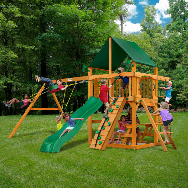 Chateau w/ Amber Posts and Sunbrella® Canvas Forest Green Canopy