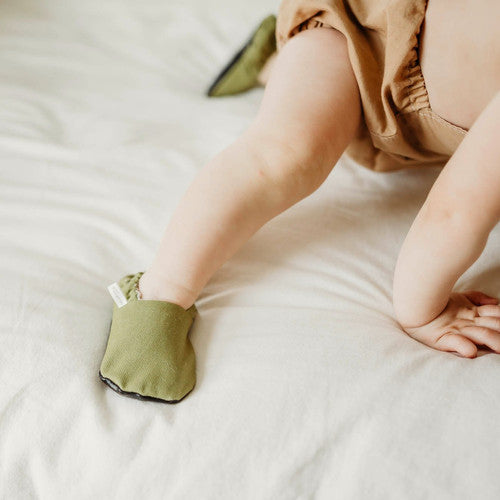 Organic Baby Moccasins - Classic Olive