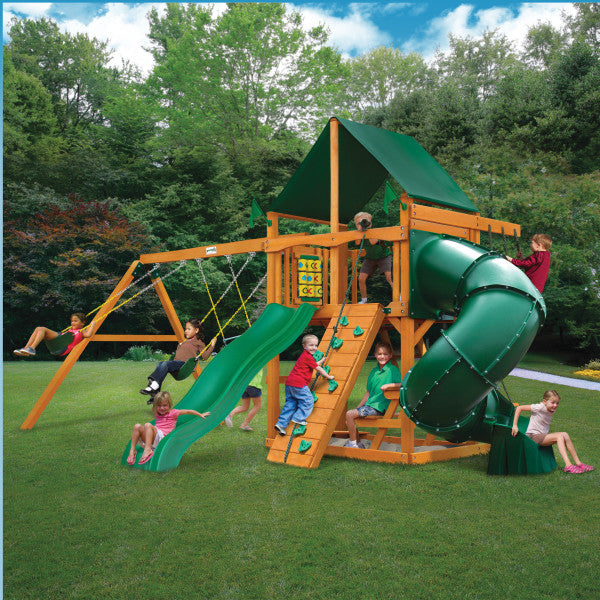 Mountaineer w/ Amber Posts and Sunbrella® Canvas Forest Green Canopy