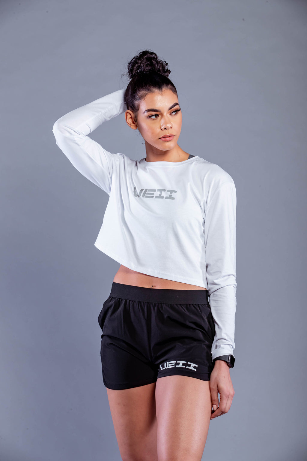 Identity Long Sleeve Crop T-Shirt - White