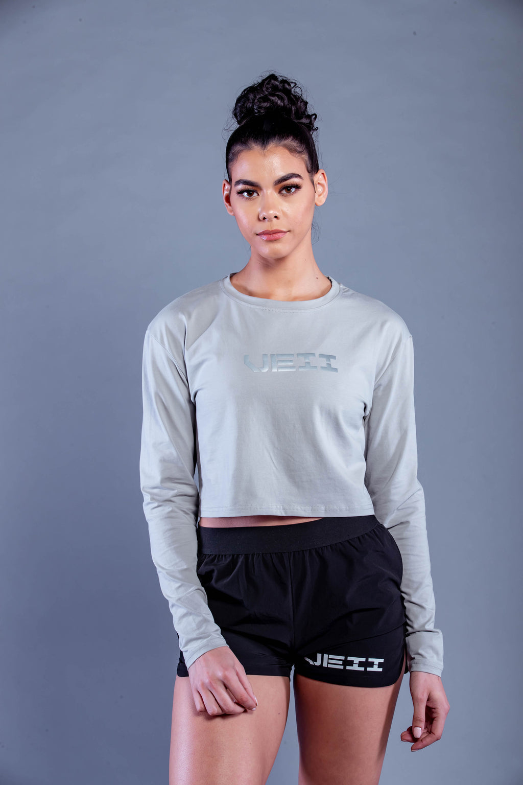 Identity Long Sleeve Crop T-Shirt - Grey