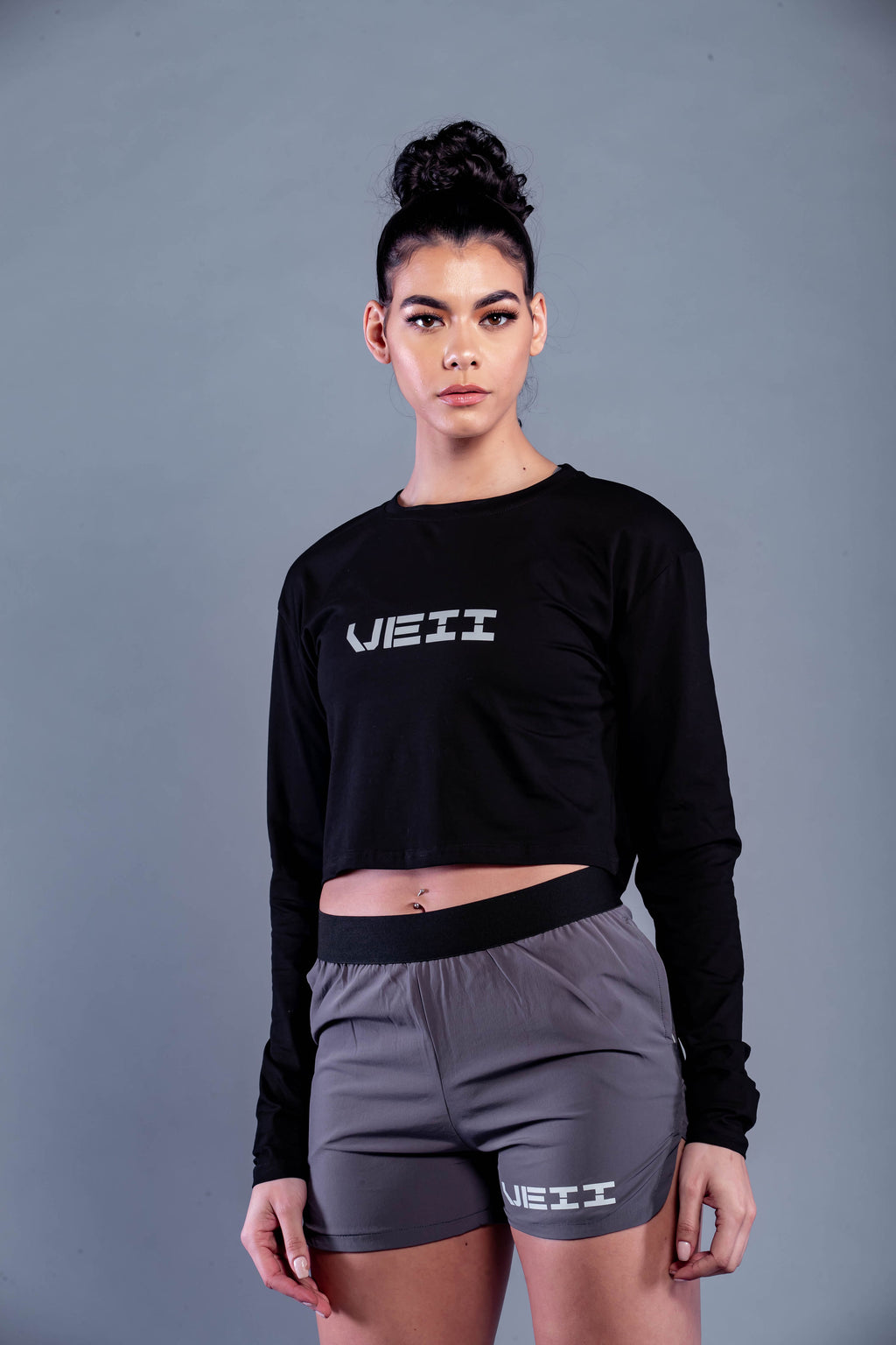 Identity Long Sleeve Crop T-Shirt - Black