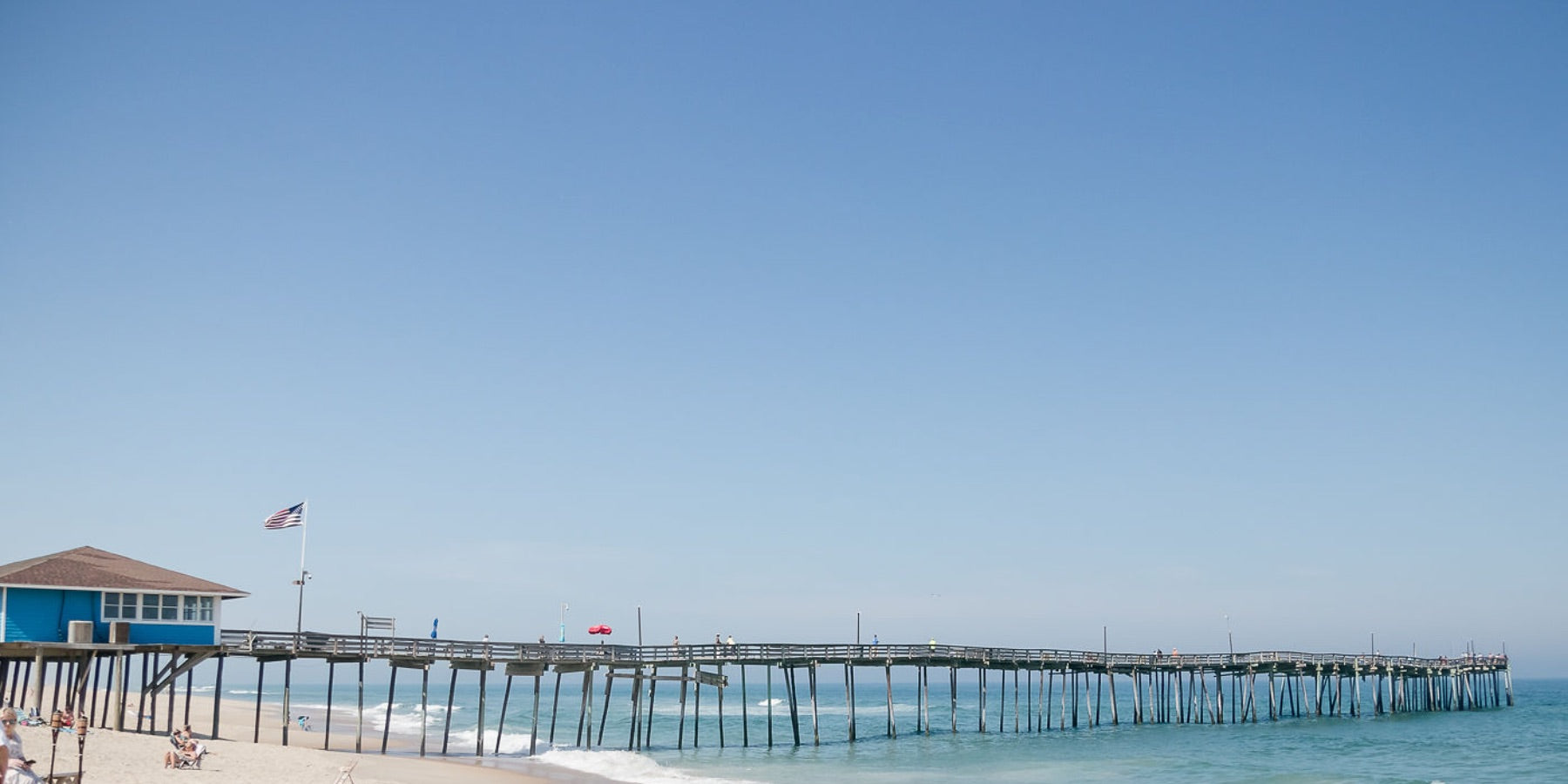 A wide angle view of the Avon Pier on a blue sky sunny day. The Avon Pier is stretching out into the crystal blue Atlantic Ocean.