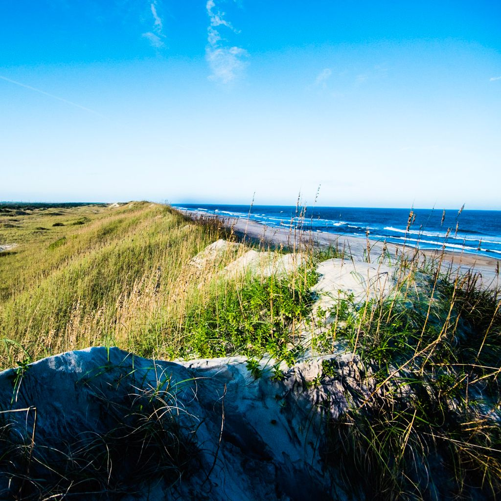 A view from the Dunes in Avon North Carolina looking over the Atlantic Ocean and the beautiful long beaches of the Outer Banks.