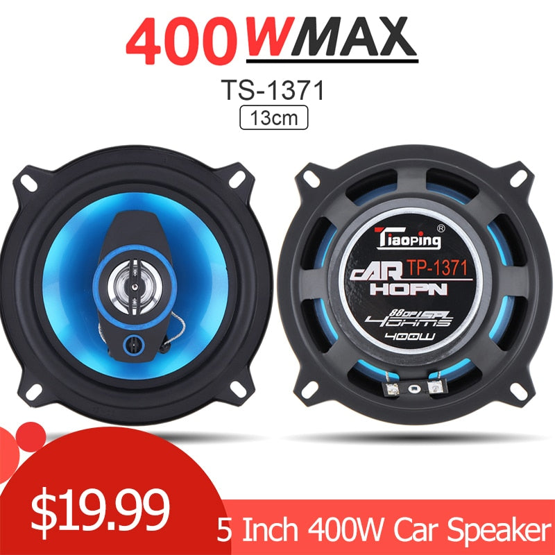 2pcs 5 Inch 400W 2 Way Car Coaxial Auto Audio Music Stereo Full Range Frequency Hifi Speakers Loundspeaker for Cars Vehicle Auto