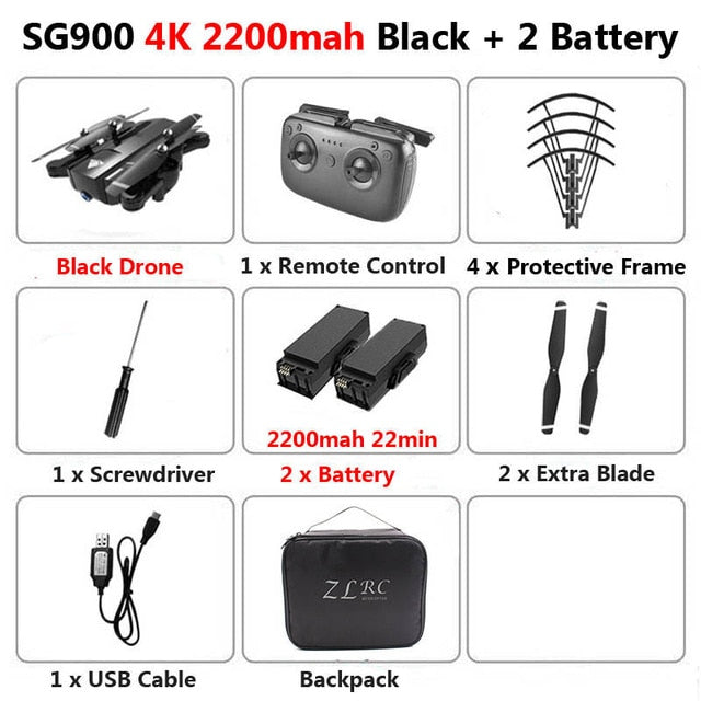 SG900 Foldable Profissional Drone with Dual Camera 720P 4K Selfie WiFi FPV Wide Angle Optical Flow RC Quadcopter Helicopter Toys