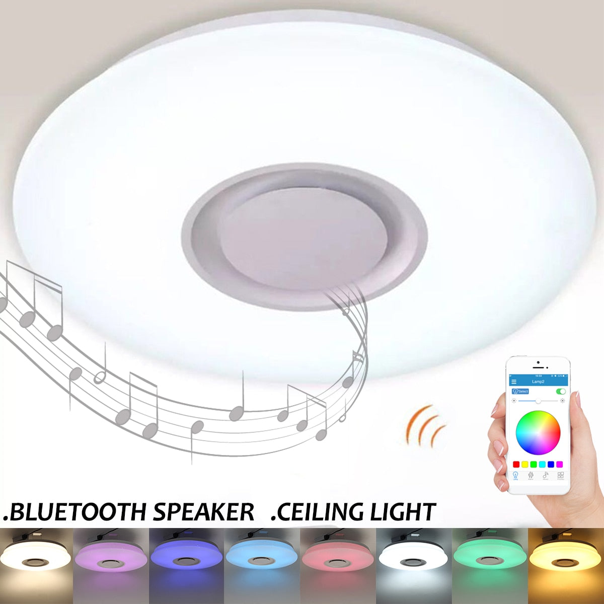 LED Bluetooth Ceiling Speaker Smart APP Control Loundspeaker Player with RGB Dimmable Ceiling Lights Panel Lamp For Kids Bedroom