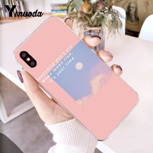 Yinuoda Pink Aesthetics songs lyrics Aesthetic Colorful Cute Phone Case for iPhone 5 5Sx 6 7 7plus 8 8Plus X XS MAX XR Fundas