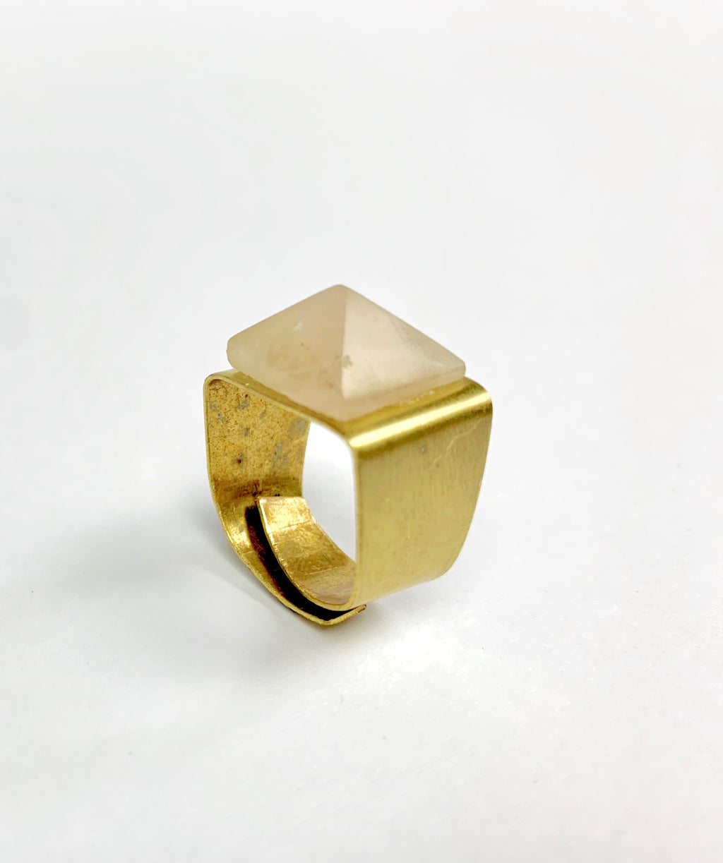 Rose Quarts Pyramid Amulet Ring