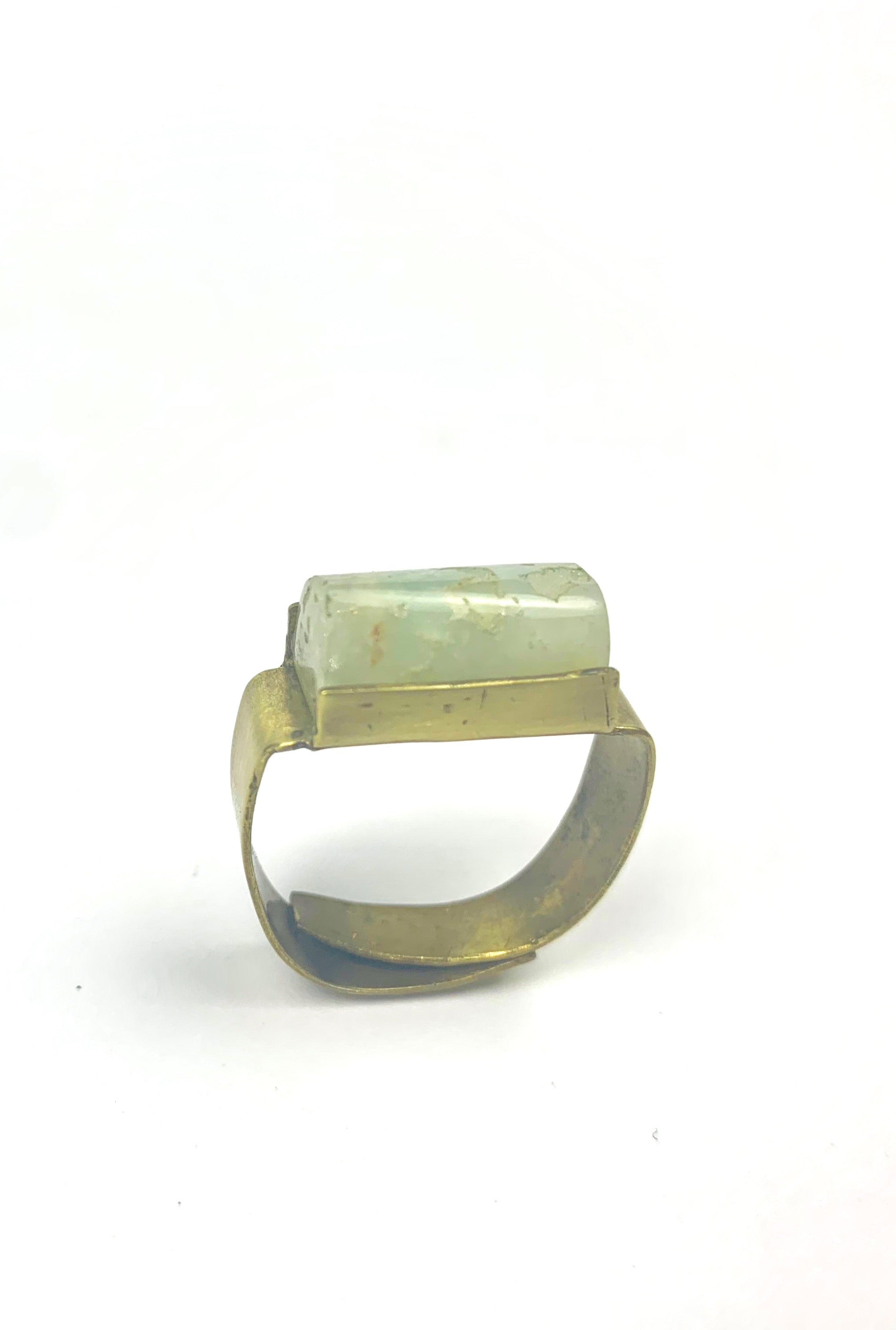 Ice Chrysoprase Bronze Pillar Ring