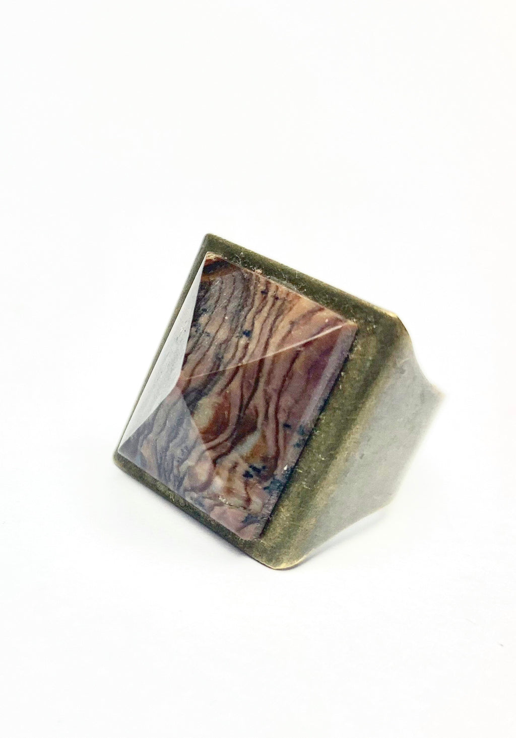 Petrified Wood Pyramid Amulet Ring