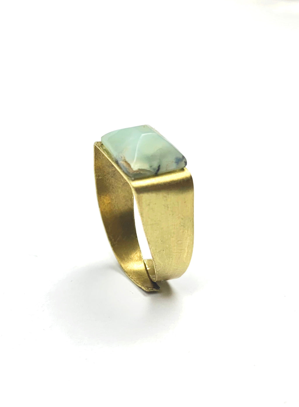 Ice Chrysoprase Bronze Amulet Ring