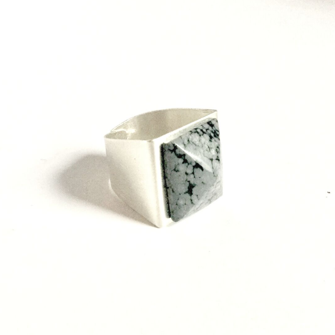 Pyramid of Snowflake Obsidiain Amulet on sterling silver