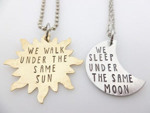Under The Same Moon & Sun Couple Necklace