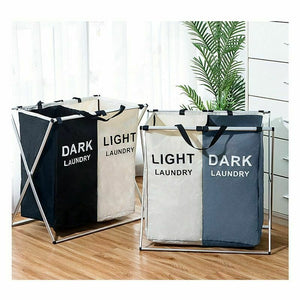 Collapsible Dirty Clothes Laundry Basket 2/3 section Foldable Organizer Dorm Laundry Hamper Sorter Washing Laundry Bag