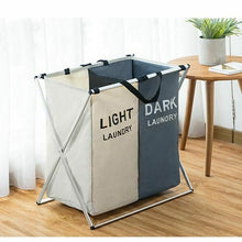 Load image into Gallery viewer, Collapsible Dirty Clothes Laundry Basket 2/3 section Foldable Organizer Dorm Laundry Hamper Sorter Washing Laundry Bag