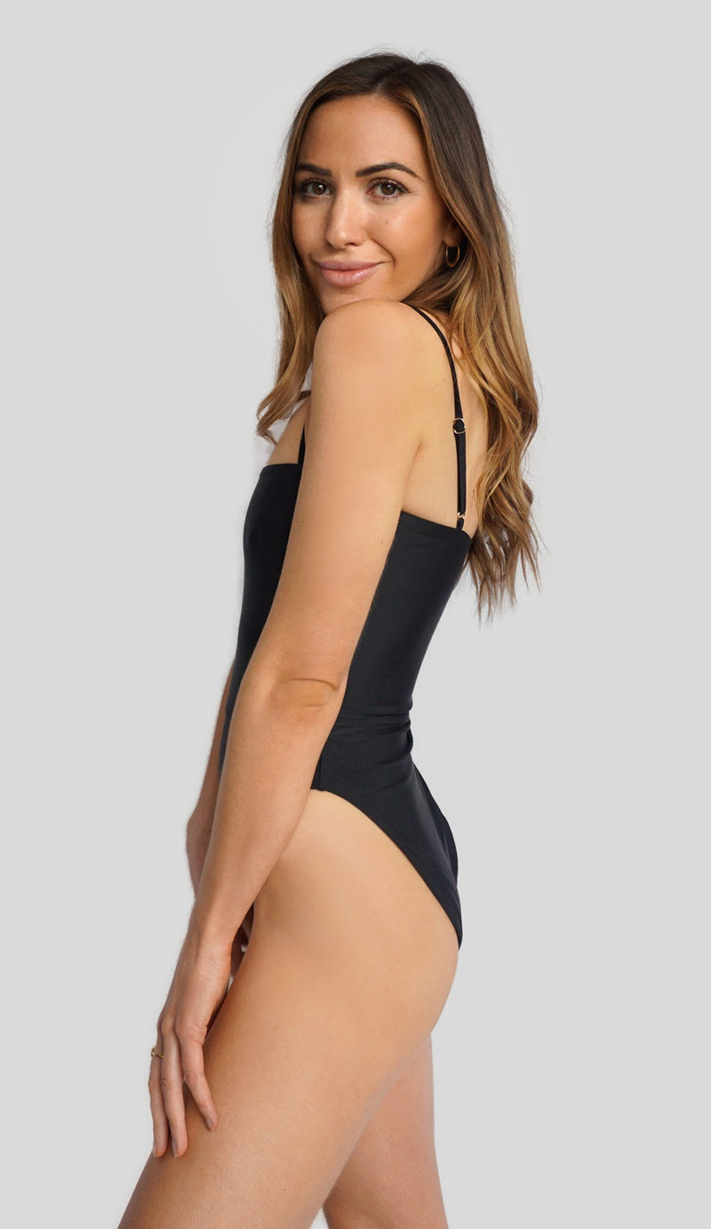North American swimwear brand Prairie Swim chic straight neckline black one piece swimsuit with adjustable straps, cinched waist and high cut legs