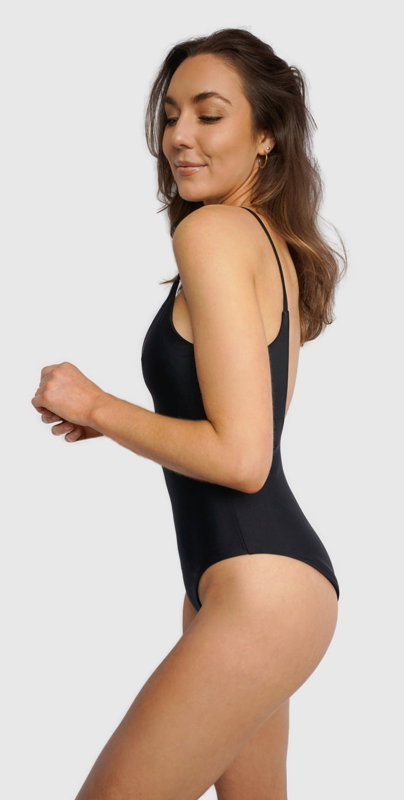 Carling Liski wears Canadian swim brand Prairie Swim chic black, scoop neck, low back one piece bathing suit