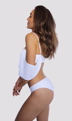 Canadian swimwear brand prairie swim white classic cut bikini bottoms cheeky bum