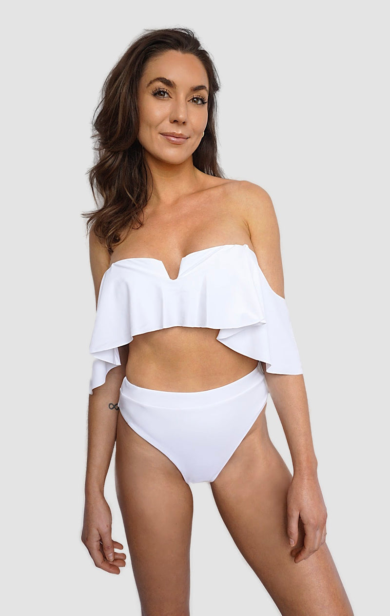 Carling Liski wearing International swimwear brand Prairie Swim classy white, mix and match, high waist bikini bottom with high-cut legs for all women