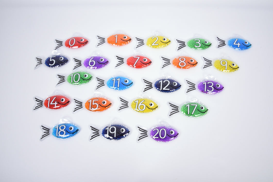Rainbow Gel Number Fish - Set of 21