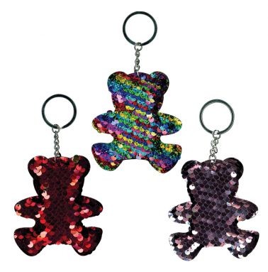 Sequin Teddy Bear Keyring