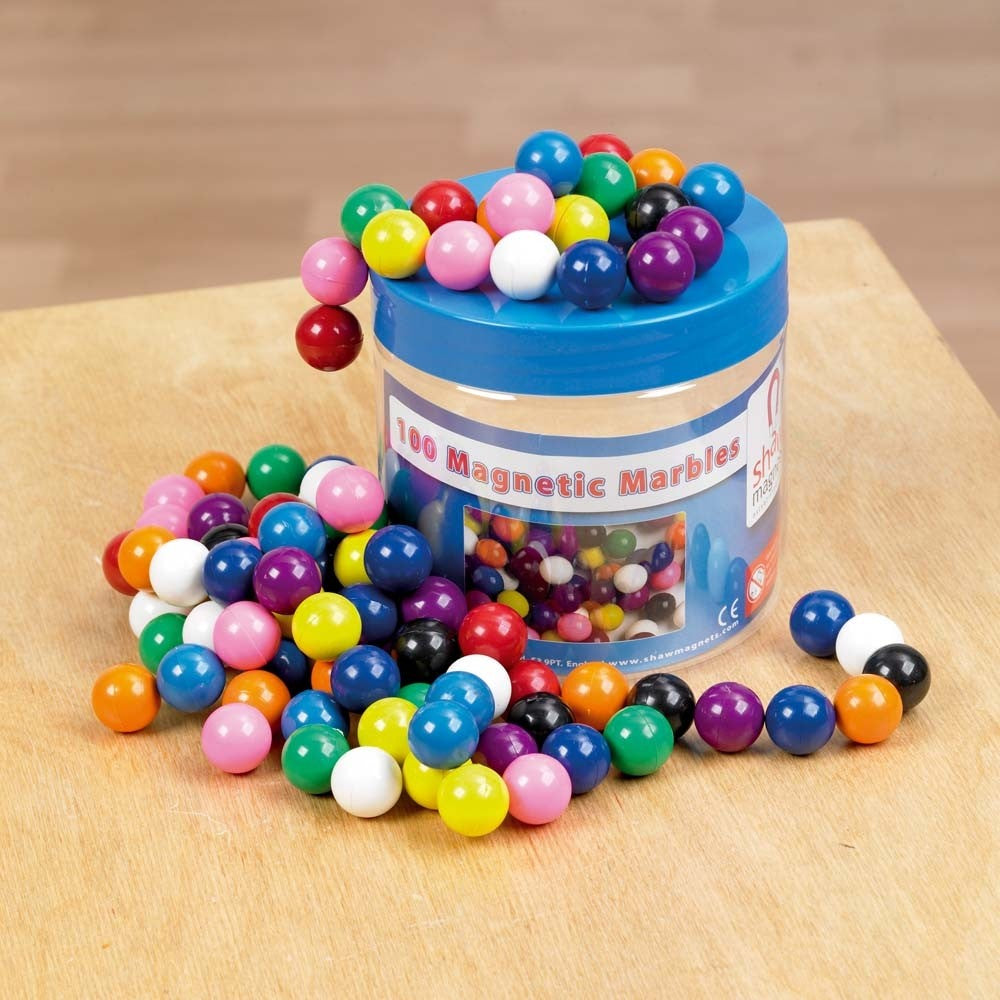 Magnetic Coloured Marbles Tub - Pk100