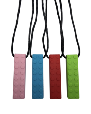 Brick shaped sensory chew with cord