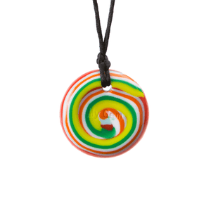 Chewigem - Red, Orange, Green & Yellow Swirl Button Necklace