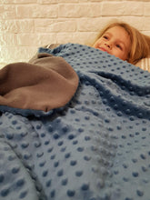 Load image into Gallery viewer, 3kg Weighted Blanket Small (90cm x 100cm) in Blue/Grey