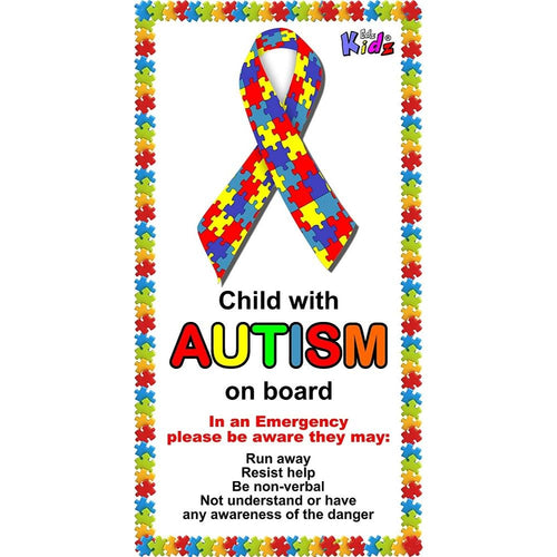 'Child with Autism on board' car sticker