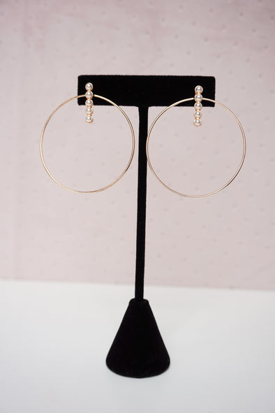 Pearl Bar & Circle Earrings - Barr Bones