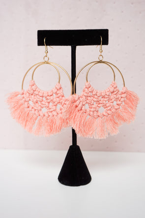 Thread Fringe Circle Earrings - Barr Bones