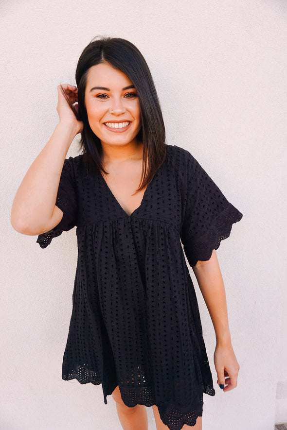 Black Eyelet Dress - Barr Bones