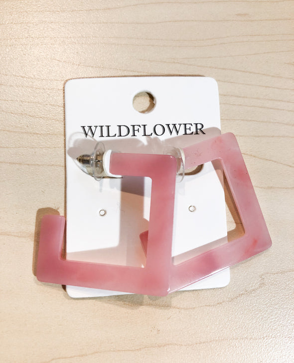 Pink Acrylic Rectangle Hoops - Barr Bones