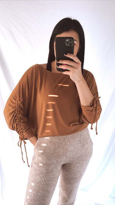 Caramel Ruched Batwing Top