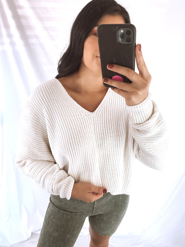 White Chenille Vneck Sweater