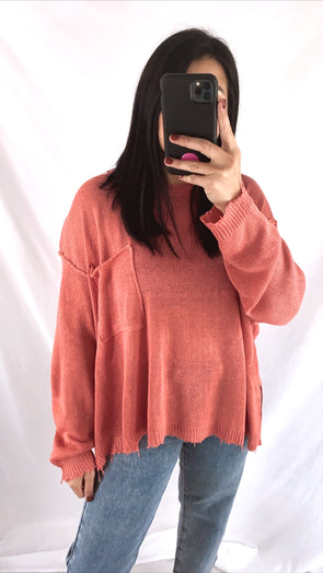 Vintage Coral Knit Sweater