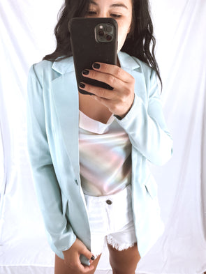 Baby Blue Satin Blazer