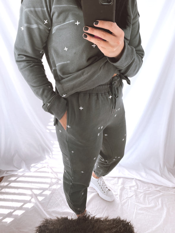 Green Crossed Joggers