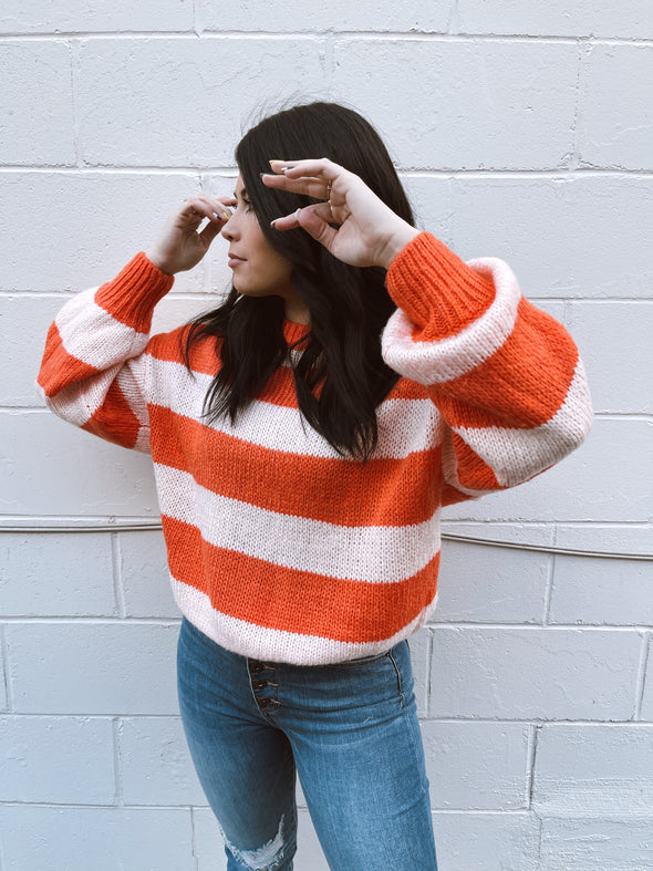 Pink Salmon Stripe Sweater