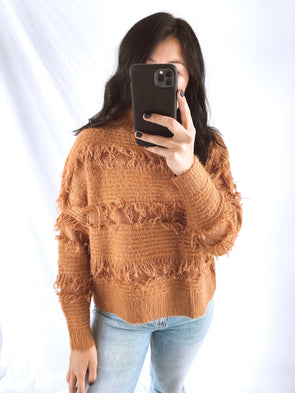Camel Fringe Sweater